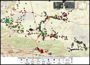 screenshop of the interactive California Active Groundwater Level Network map