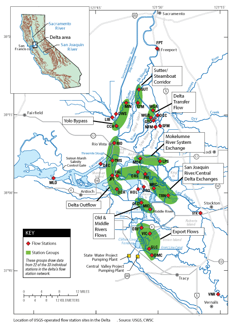 Map Of Usgs Operated Flow Station Sites In The Bay Delta