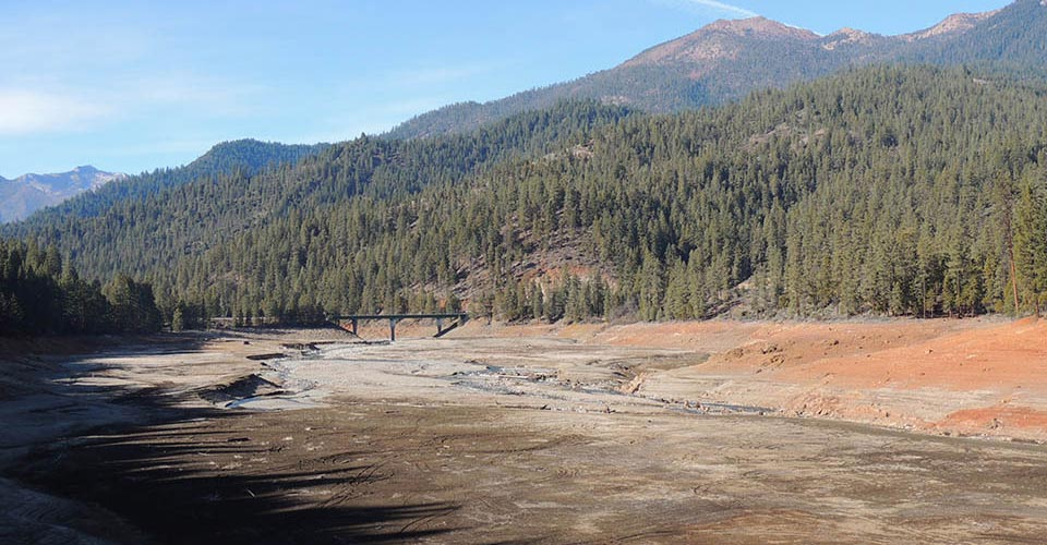 Photo of Trinity Lake, CA taken on 04 February 2014 showing the impact of the drought on water level.