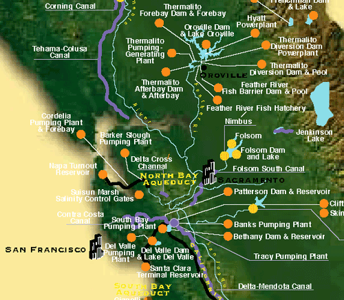 Map illustrating the locations of reservoirs, conveyance structures, and other facilities that are a part of the Central Valley and/or California State Water Projects
