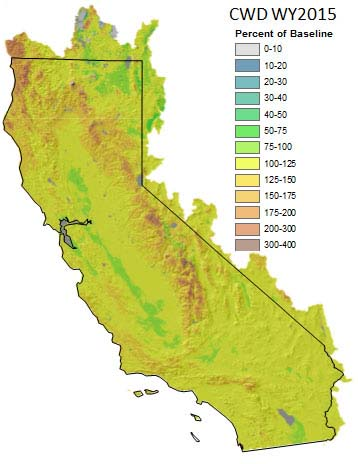 Map of California depicting the baseline climatic water deficit for water year 2015.