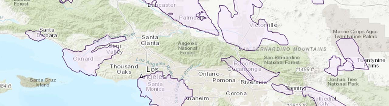 excerpt of a map of groundwater model boundaries in California