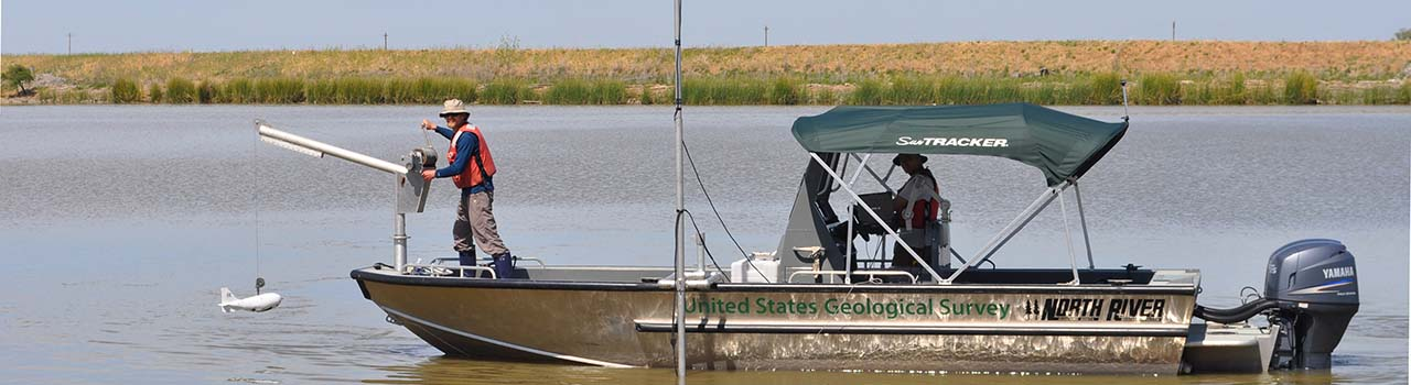 A USGS research boat heads out into the Bay-Delta