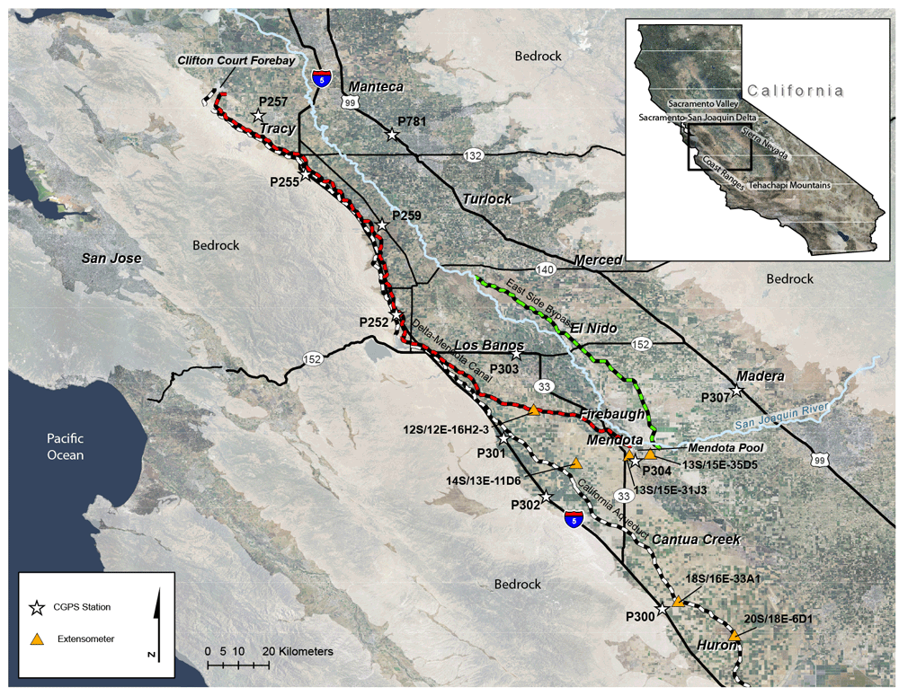 Map Showing The Location And Geographic Features Of San Joaquin Valley And Locations Of Continuous