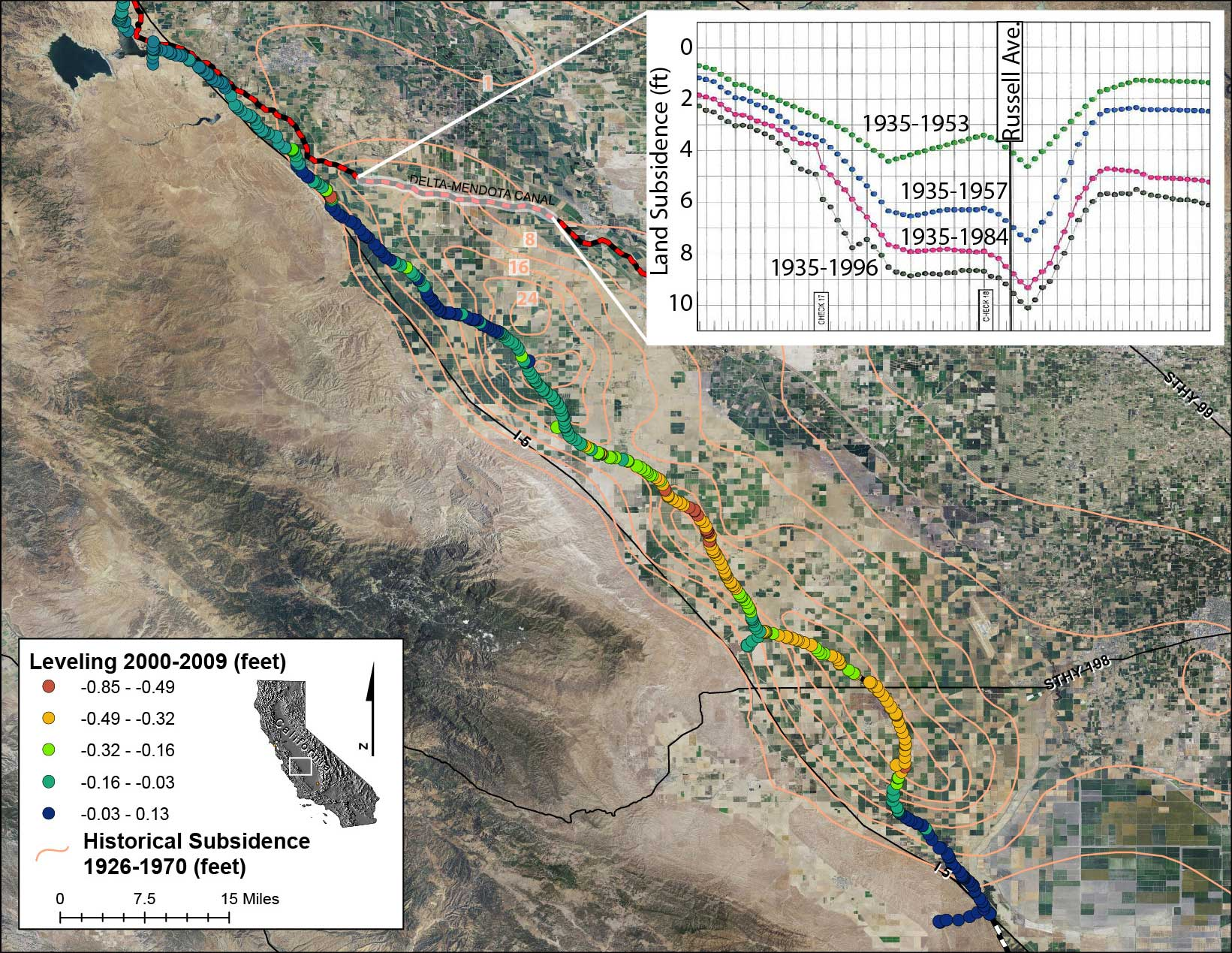 leveling data along the Delta-Mendota Canal obtained by the California Department of Water Resources.