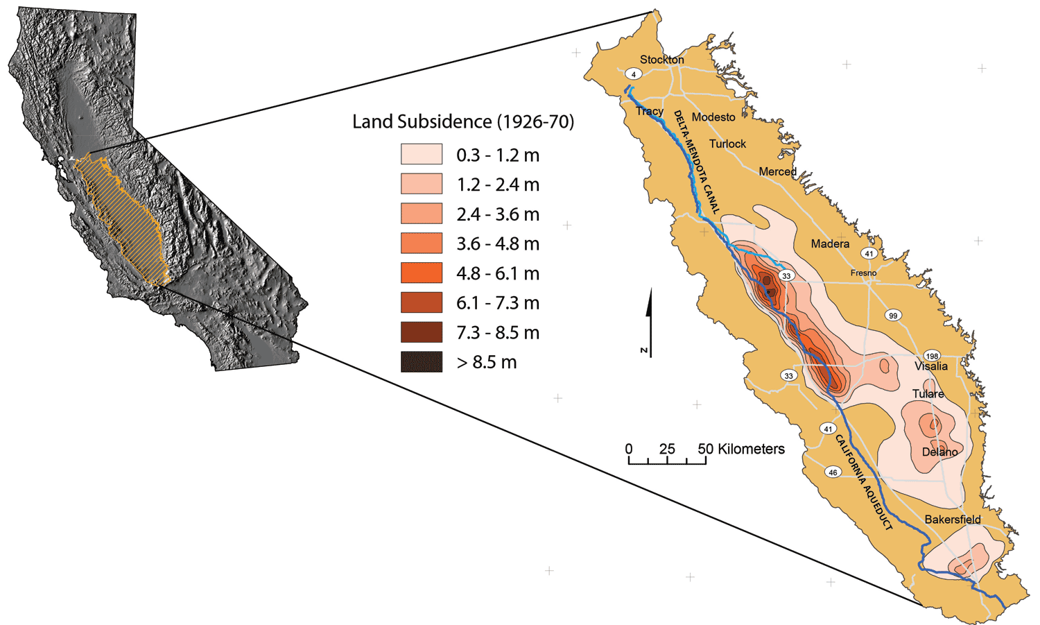 DeltaMendota Canal Groundwater Conditions And Land Subsidence - Us Map San Joaquin Valley