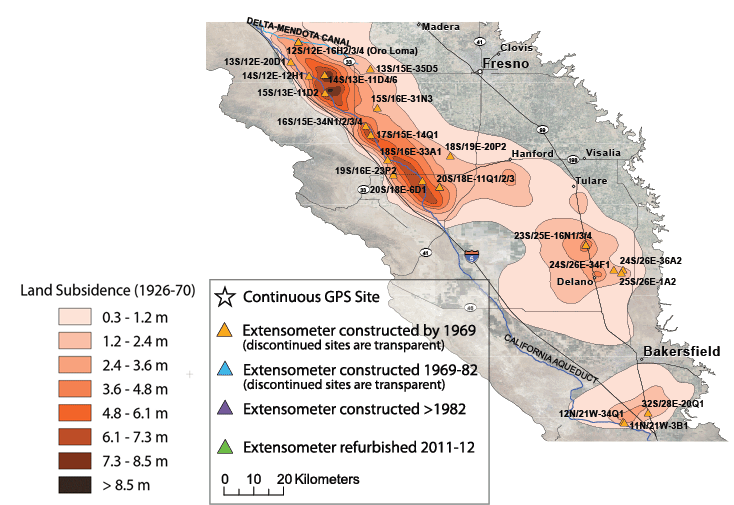 San Joaquin Valley Land Subsidence Monitoring Network USGS - Us Map San Joaquin Valley