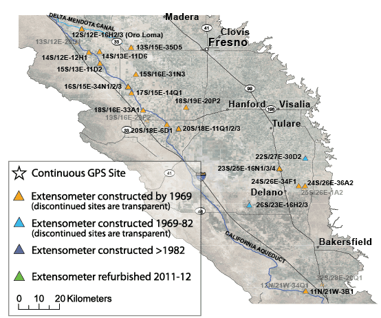 Map Showing The Subsidence Monitoring Network In The Central Valley In The 1980s
