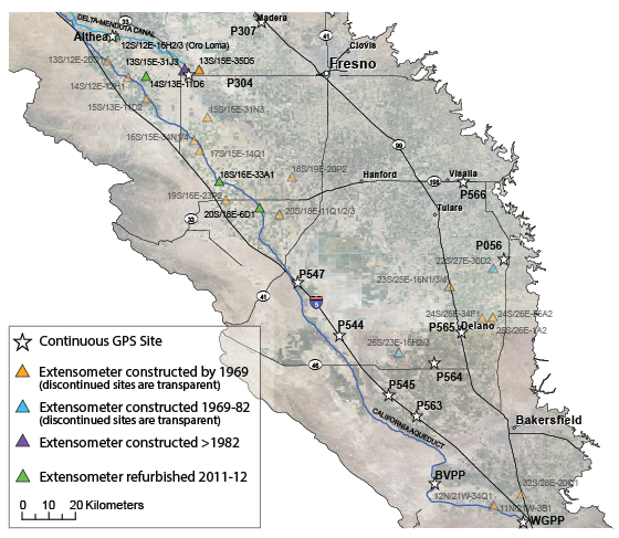 Map Showing The Subsidence Monitoring Network In The Central Valley In The 2010s