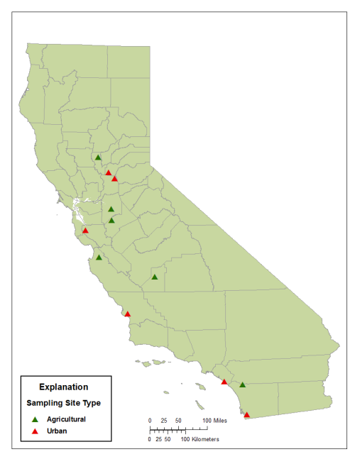 Map of California showing approximate sampling locations.