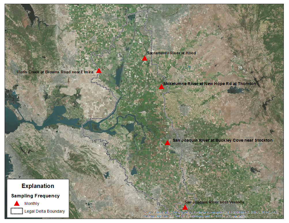 Map of proposed locations in the Delta region for the collection of samples for pesticide and degradate analyses by the USGS Organic Chemistry Research Laboratory, 2015-2016.