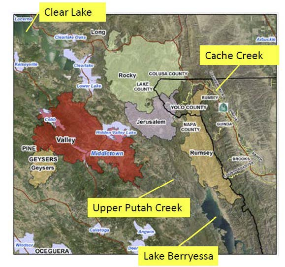 Lake Berryessa Fire Map.Wildfire Effect On Mercury Levels In Putah And Cache Creek