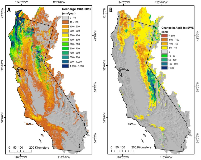 Figure 1. Map showing change in snow water equivalent between 1951-1980 and 1981-2010 in California