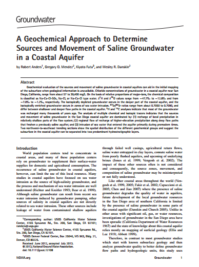 A Geochemical Approach to Determine Sources and Movement of Saline Groundwater in a Coastal Aquifer